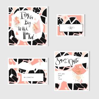 Conjunto de tarjetas universales creativas. texturas dibujadas a mano.