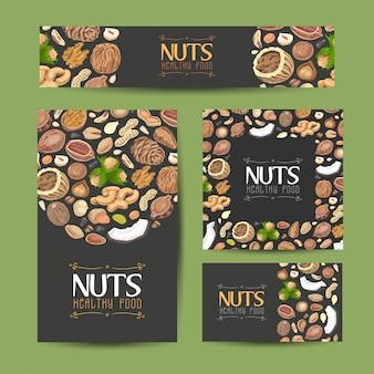 Conjunto de tarjetas vector con nueces y semillas