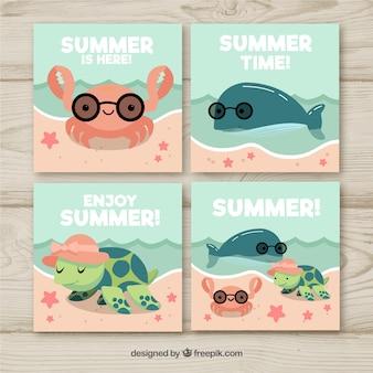 Conjunto de tarjetas de verano con animales aquaticos