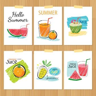 Conjunto de tarjetas de verano dibujadas a mano. etiqueta de diseño plano de vacaciones.