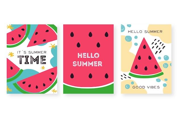 Conjunto de tarjetas de verano dibujado a mano