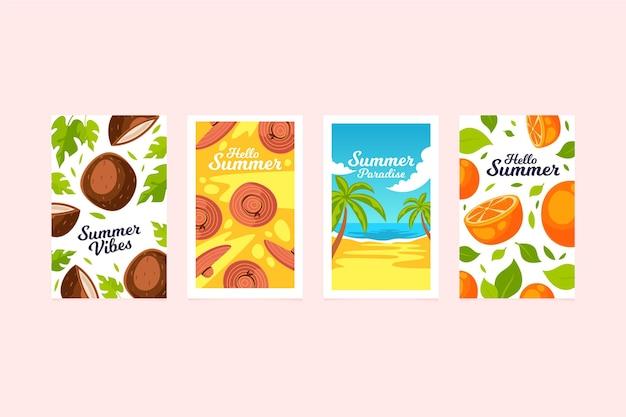 Conjunto de tarjetas de verano de diseño plano