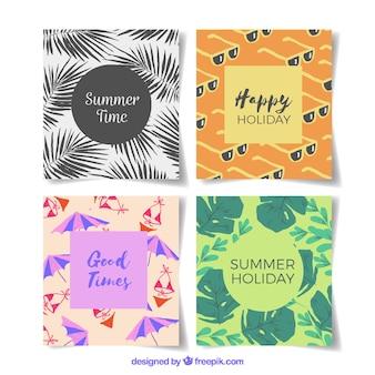 Conjunto de tarjetas de verano con elementos de playa
