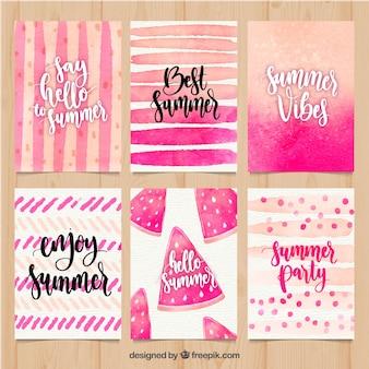 Conjunto de tarjetas de verano con formas de acuarela