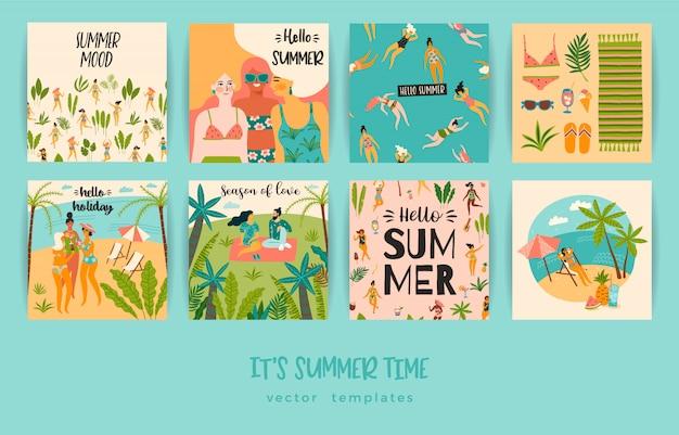 Conjunto de tarjetas de verano con ilustraciones.