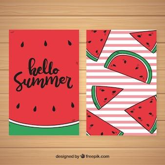 Conjunto de tarjetas de verano con patrón de sandías