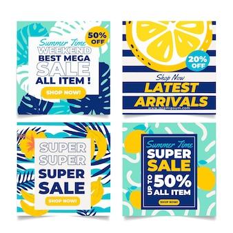 Conjunto de tarjetas de verano