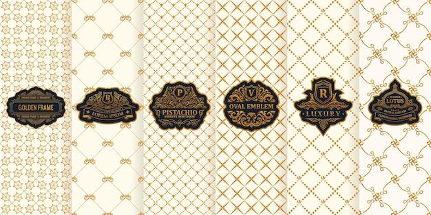 Conjunto de tarjetas verticales, diseño de envases, etiquetas doradas, logotipo, marco