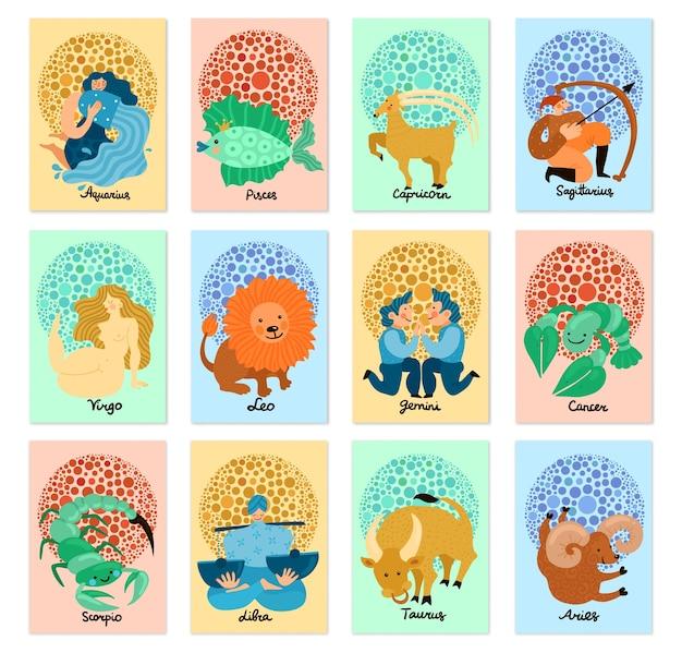 Conjunto de tarjetas verticales con signos del zodíaco dibujados a mano aislados sobre fondo pastel