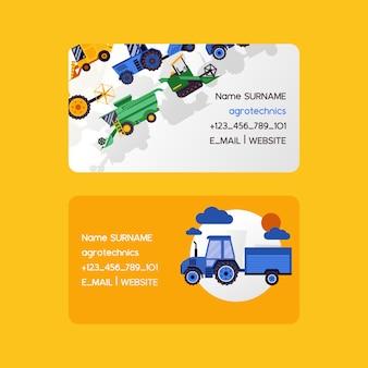 Conjunto de tarjetas de visita de agrotécnica. cosechadoras ilustración vectorial. equipamiento para la agricultura. trabajadores en vehículos industriales