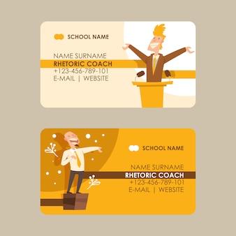 Conjunto de tarjetas de visita del entrenador de retórica hablar en público