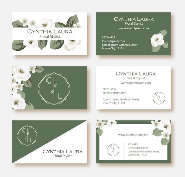 Conjunto de tarjetas de visita florales verdes y blancas.