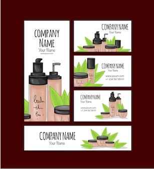 Conjunto de tarjetas de visita y folletos con cosmética orgánica.