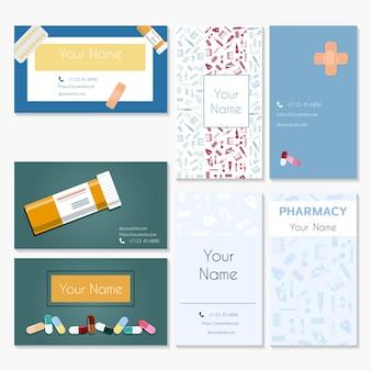 Un conjunto de tarjetas de visita médicas de farmacia para un médico farmacéutico, enfermero o trabajador médico.