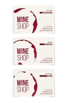 Conjunto de tarjetas de visita de la tienda de vinos aislado en blanco