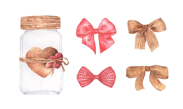 Conjunto de tarro de cristal y lazos lindos