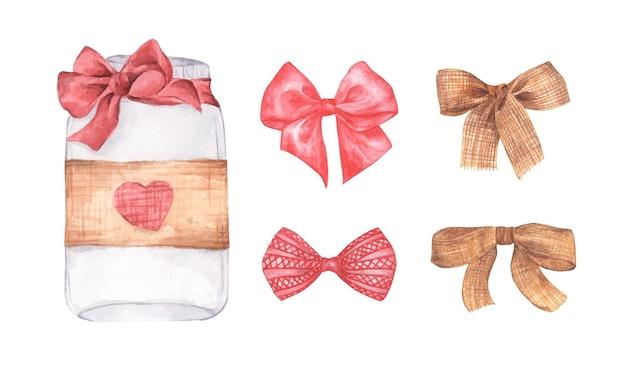 Conjunto de tarro de cristal con un símbolo de corazones de san valentín. regalo de san valentín, concepto de amor. ilustración acuarela.