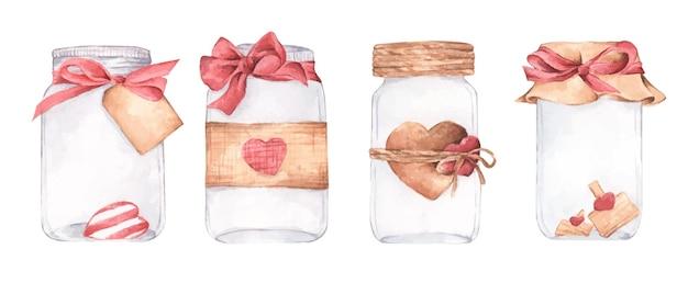 Conjunto de tarro de cristal con un símbolo de corazones de san valentín
