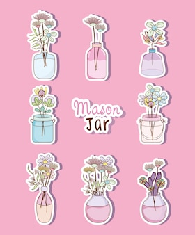 Conjunto de tarro de masón con colección de dibujos de flores