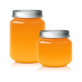 Conjunto de tarro de vidrio para miel, mermelada, gelatina o plantilla de puré de alimentos para bebés