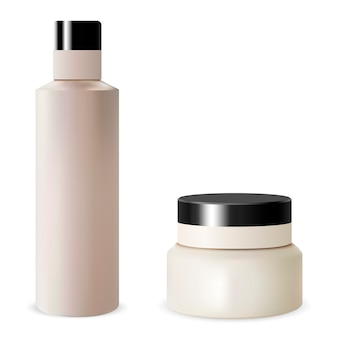 Conjunto de tarros de crema de botella de champú en blanco. cosmético