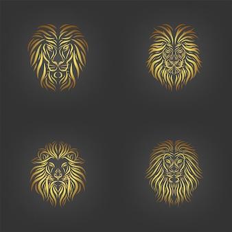 Conjunto de tatuaje de cabeza de león, colección de arte de línea de cabeza de león