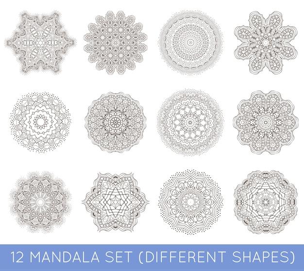 Conjunto de tatuaje de meditación mandala fractal étnico parece copo de nieve o patrón azteca maya o flor también aislado en blanco