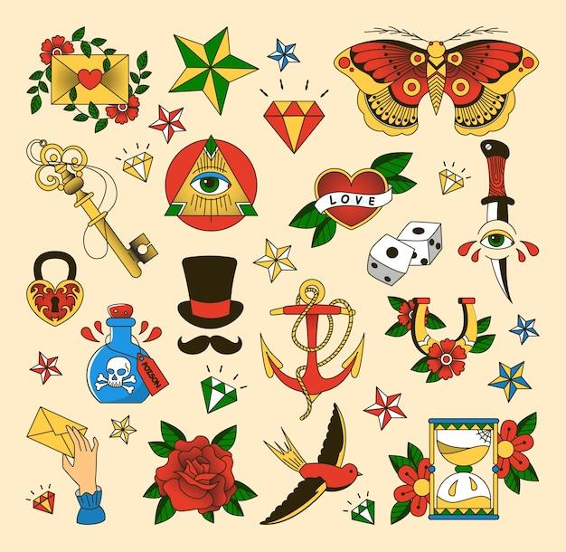 Conjunto de tatuajes al estilo de la vieja escuela