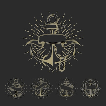 Conjunto de tatuajes de marinero marítimo de anclaje o colección de ilustraciones náuticas vintage. dibujo de ancla marina con ilustración de cinta