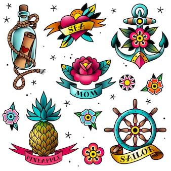 Conjunto de tatuajes de la vieja escuela