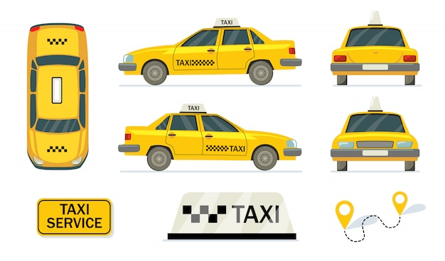 Conjunto de taxis amarillos