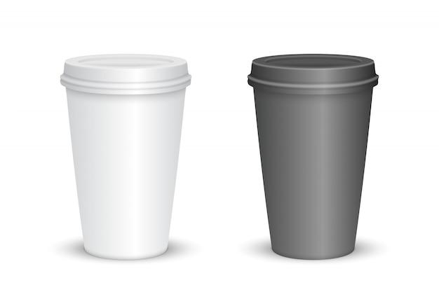 Conjunto de taza de café en blanco realista aislado. ilustración vectorial
