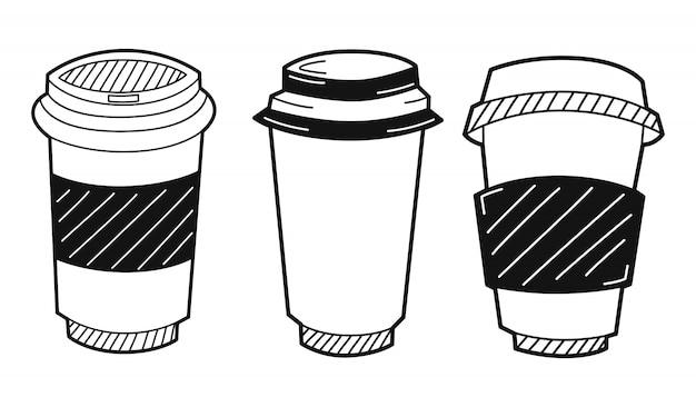 Conjunto de taza de café de papel dibujado a mano