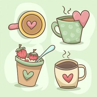 Conjunto de taza de corazón