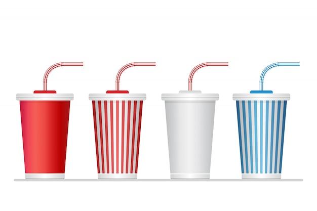 Conjunto de taza de refresco de papel aislado en blanco