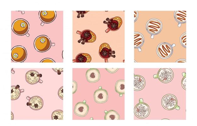 Conjunto de tazas de café y deliciosas bebidas lindos patrones sin fisuras en colores pastel. azulejo de fondo de textura