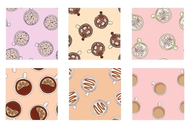 Conjunto de tazas de café y deliciosas bebidas lindos patrones sin fisuras en colores pastel.