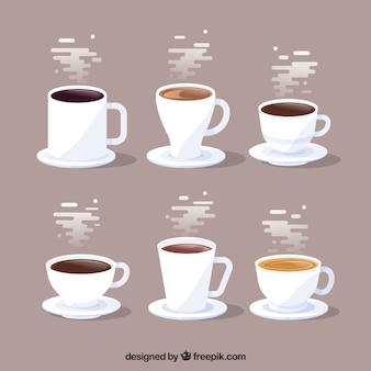 Conjunto de tazas de café con humo