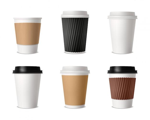 Conjunto de tazas de café de papel