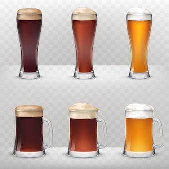 Un conjunto de tazas y vasos altos de diferentes tipos de cerveza.
