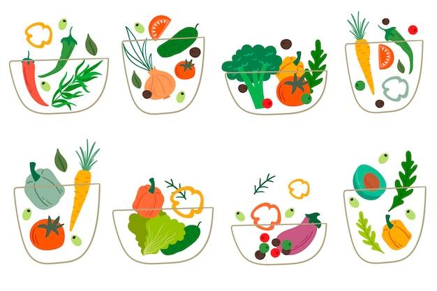 Conjunto de tazones de fuente de ensalada. ilustración de vector de ensaladas de verduras