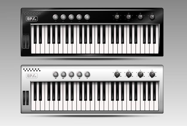 Conjunto de teclados midi realistas.