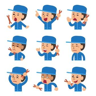 Conjunto de técnico de dibujos animados mostrando diferentes emociones