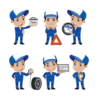 Conjunto de técnico con diferentes poses.