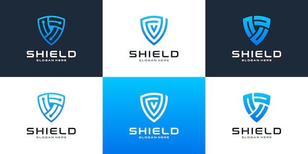 Conjunto de tecnología moderna con plantilla de diseño de logotipo de escudo.