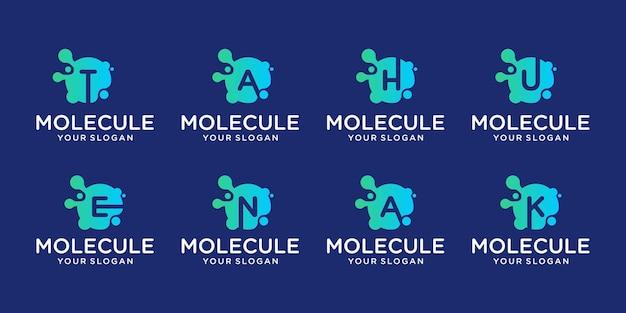 Conjunto de tecnología de molécula de monograma abstracto creativo