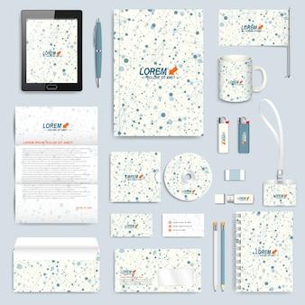 Conjunto de tecnología de plantilla de identidad corporativa. maqueta de papelería de marca moderna. molécula y antecedentes de comunicación. líneas conectadas con puntos. diseño de ciencia, medicina o tecnología