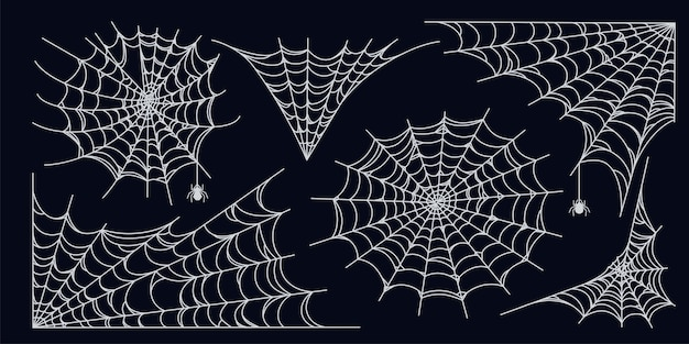 Conjunto de tela de araña aislado sobre fondo oscuro telarañas de halloween espeluznantes con arañas