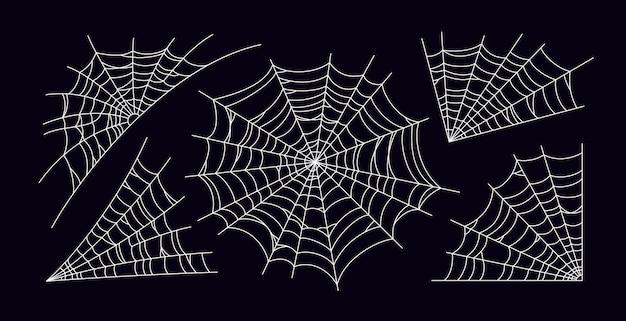 Conjunto de telaraña aterradora. silueta de telaraña blanca aislada sobre fondo negro. tela de araña dibujada a mano para la fiesta de halloween. ilustración vectorial