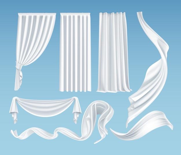 Conjunto de telas blancas ondeantes realistas, material claro suave y ligero y cortinas aisladas sobre fondo azul degradado